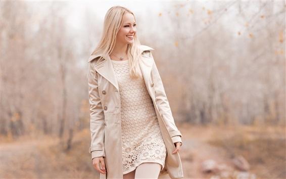 Wallpaper Smile blonde girl walking in autumn