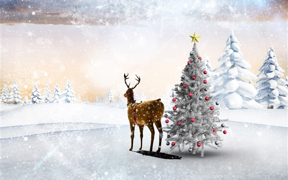 Wallpaper Snow, winter, deer, Christmas tree, balls, forest, snowflakes, art picture