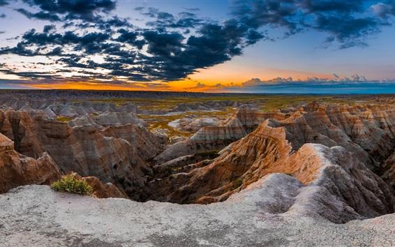 Обои Южная Дакота, Бэдлендс, США, горы, скалы, облака, закат