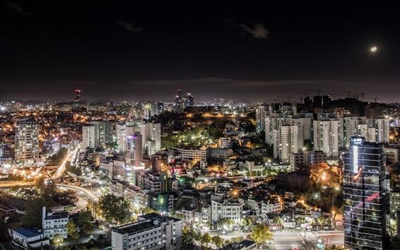 Fondos de pantalla Corea del Sur, ciudad de Seúl, noche, luces, iluminación