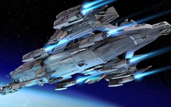 Wallpaper Spaceship, bottom view, flight, space, stars