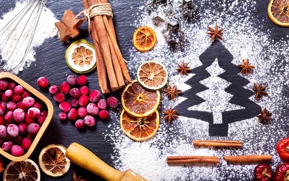 Wallpaper Still life, cranberry, cinnamon, star anise, lemon, powdered sugar