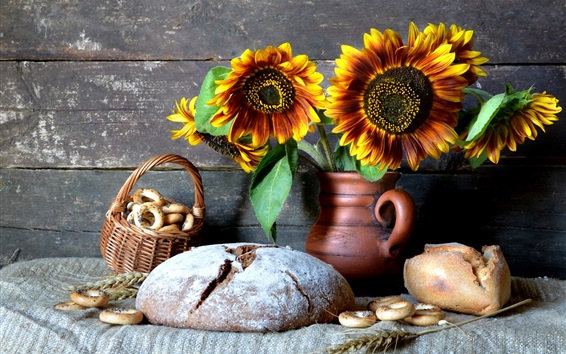 Still life, dry bread, sunflowers, vase, cookies Wallpaper Preview