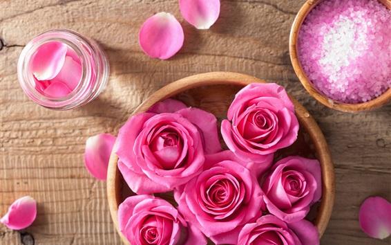 Fondos de pantalla Naturaleza muerta, rosa rosa flores, pétalos, SPA