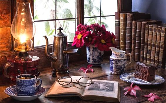 Обои Натюрморт, комната, окна, стекла, книга, лампа, чай, торт