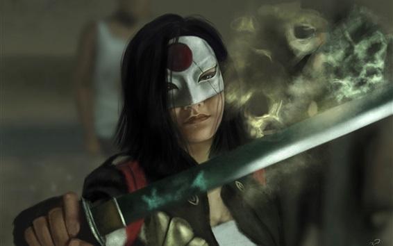 Hintergrundbilder Suicide Squad, Mädchen, Katana, Schwert, Maske, Kunst-Bild