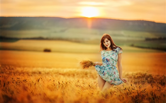 Wallpaper Summer, girl in the wheat field, sunset