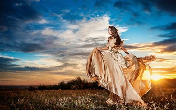 Papéis de Parede Por do sol, menina saia bonita, nuvens