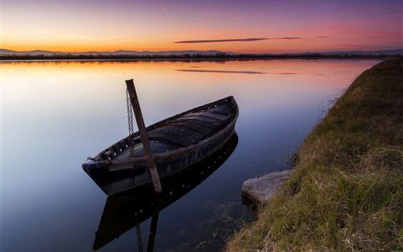 Wallpaper Sunset, river, boat, grass, mountains