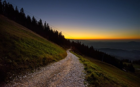 Fond d'écran Coucher de soleil, route, montagne, pente