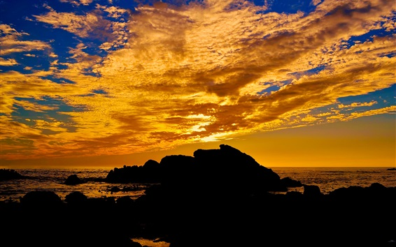 Sunset, sea, clouds, stones, nature landscape Wallpaper Preview