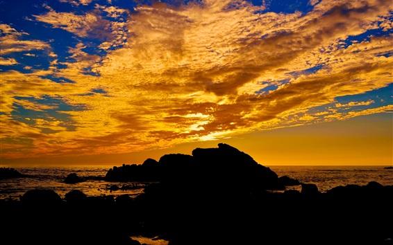 Обои Закат, море, облака, камни, природа пейзаж