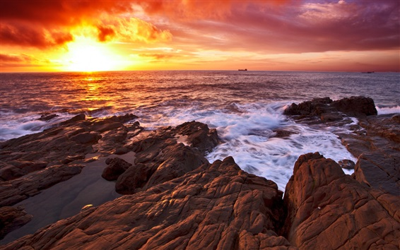 Wallpaper Sunset sea, coast, rocks, red sky, clouds