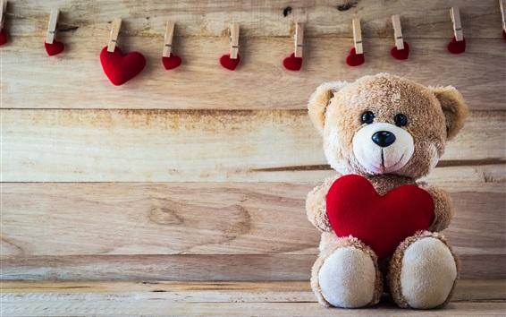Fond d'écran Ours en peluche, les coeurs d'amour, romantique, clothespin