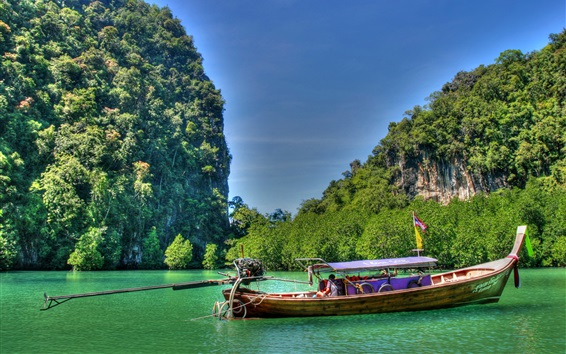 Wallpaper Thailand, sea, mountains, boat, nature scenery
