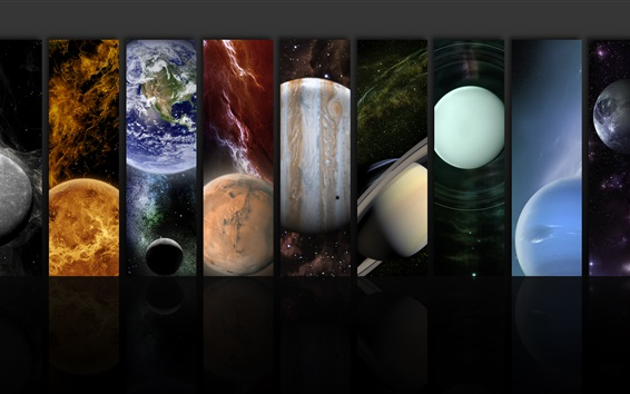 Wallpaper The planets of the solar system