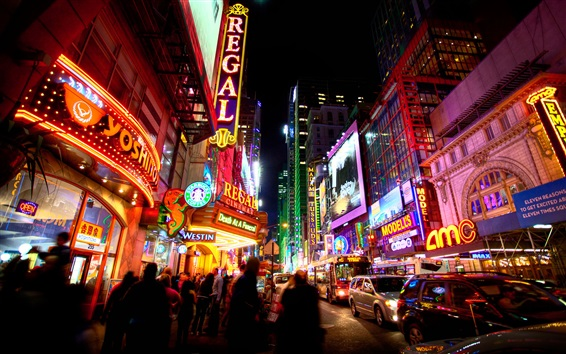 Wallpaper Times Square, USA, city, night, people, cars, lights