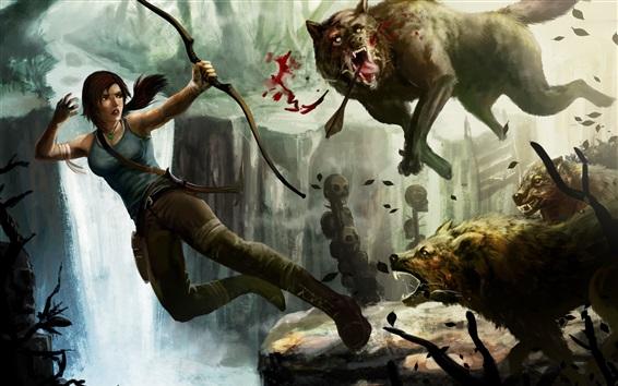 Обои Tomb Raider, Лара Крофт и волки, лук