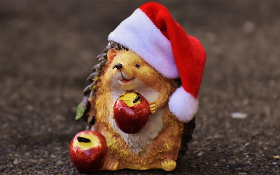 Wallpaper Toy, hedgehog, apples, Santa hat, Christmas theme