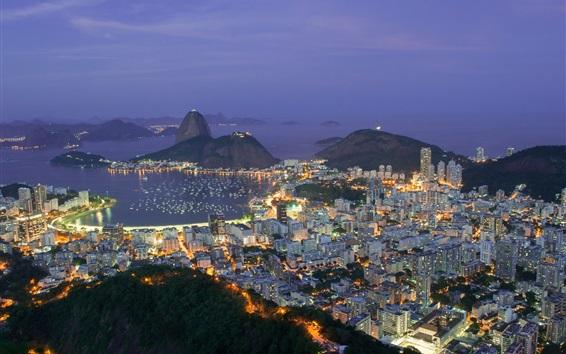 Wallpaper Travel to Brazil, Rio de Janeiro, city evening, lights, bay