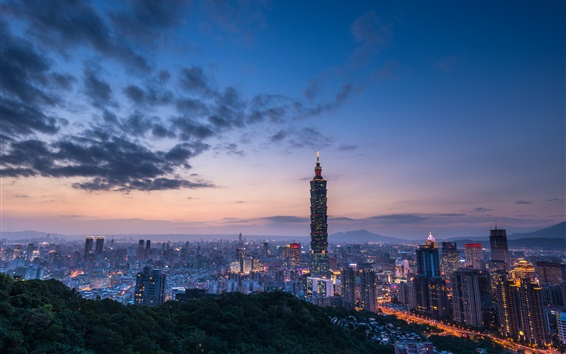 Wallpaper Travel to Taipei, Taiwan, evening, skyscrapers, lights, clouds