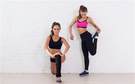 Wallpaper Two fitness girls, sportswear, workout