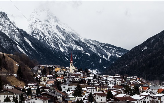 Wallpaper Tyrol, Austria, Arlberg, village, mountains, winter, snow, valley