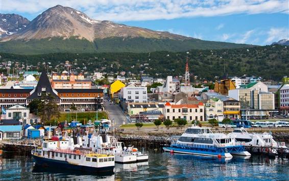Wallpaper Ushuaia, Argentina, city, ships, ports, mountains