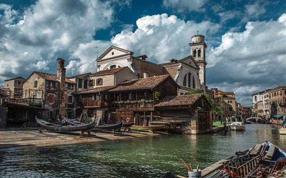 Fondos de pantalla Venecia, ciudad, astillero, Italia, río, casas