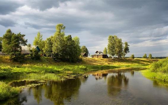 Fondos de pantalla Pueblo, hierba, árboles, casas, río, verde