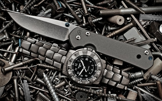 Wallpaper Watch, knife, screws