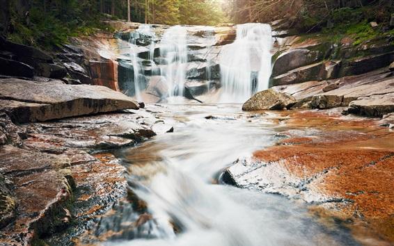 Papéis de Parede Cachoeira, pedras, cenário da natureza