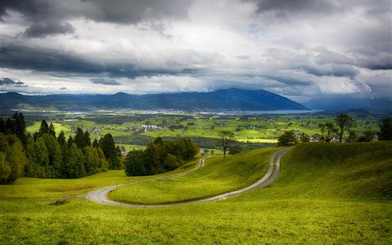 Wallpaper Wattenwil, Switzerland, mountains, road, trees, village
