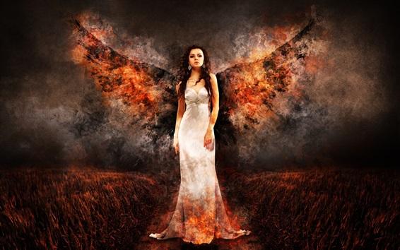 壁紙 白いドレスの天使の女の子、火の羽