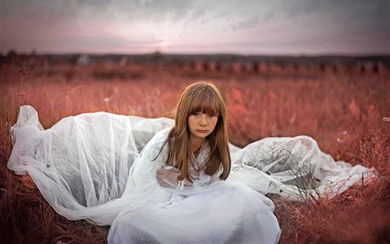 Wallpaper White dress little girl, children, grass