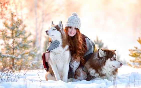 배경 화면 겨울, 눈, 미소 소녀, 거친 개