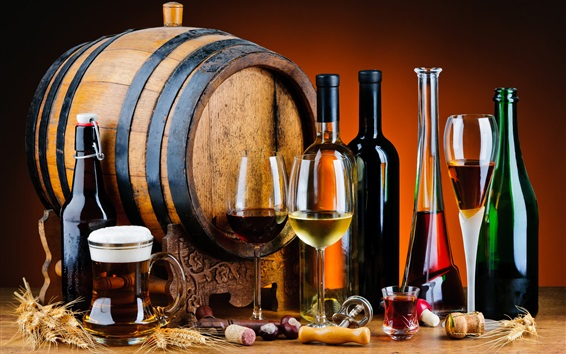 Wallpaper Wood barrel, wine, beer, bottles, glass cups, drinks