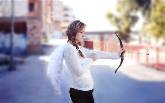 Wallpaper Angel girl, white dress, use bow