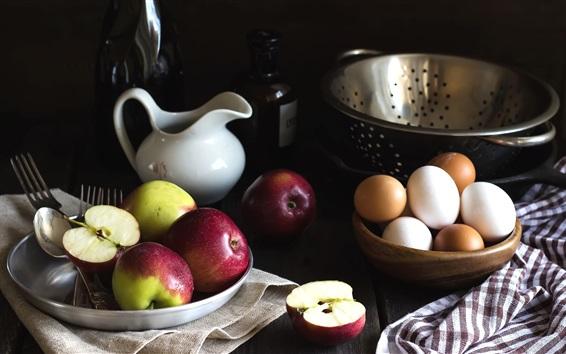 Wallpaper Apples and eggs, still life