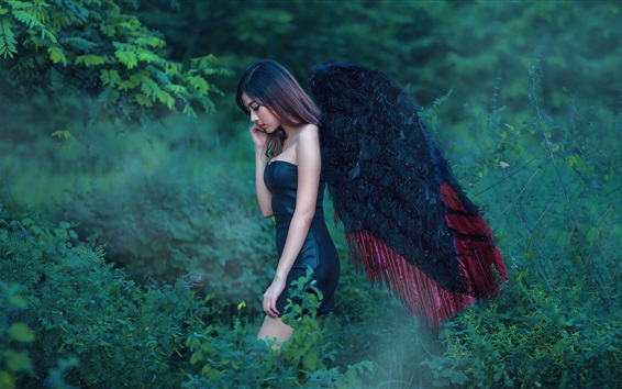 Wallpaper Asian angel girl, black wings, nature