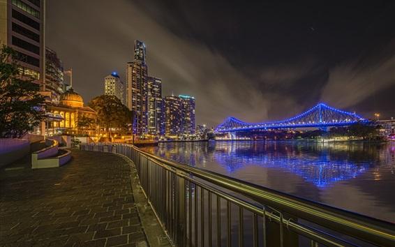 Обои Австралия, Брисбен, ночь, город, мост, река, огни