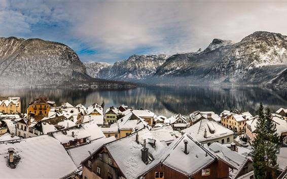 Wallpaper Austria, Hallstatt, Alps, mountains, lake, winter, snow, houses, roof