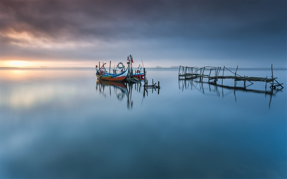壁紙 アベイロラグーン、ポルトガル、湖、ボート、桟橋、夜明け