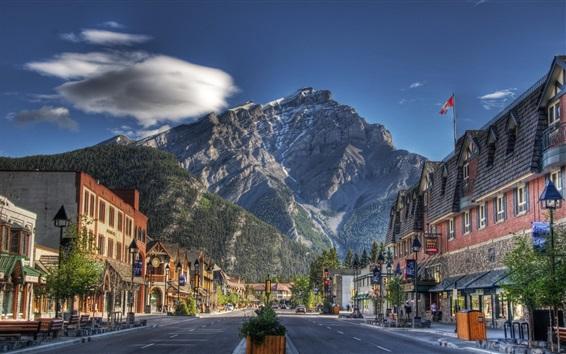 Обои Национальный парк Банф, Канада, горы, улица, дома, город