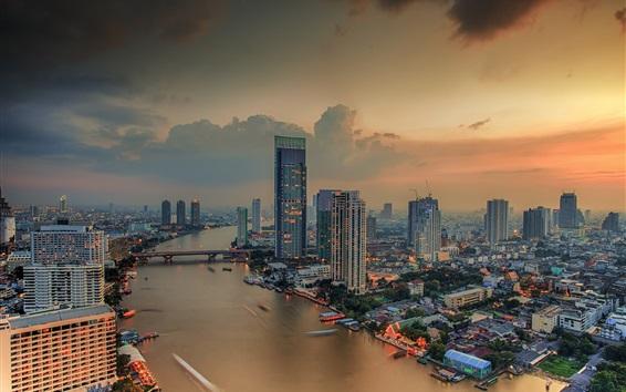 Wallpaper Bangkok city night view, river, skyscrapers, lights, Thailand