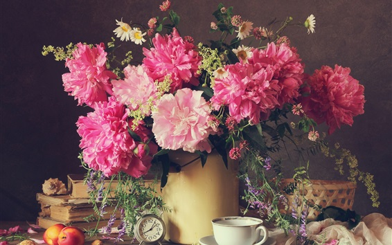 Wallpaper Beautiful peony flowers, pink petals, clock, vase