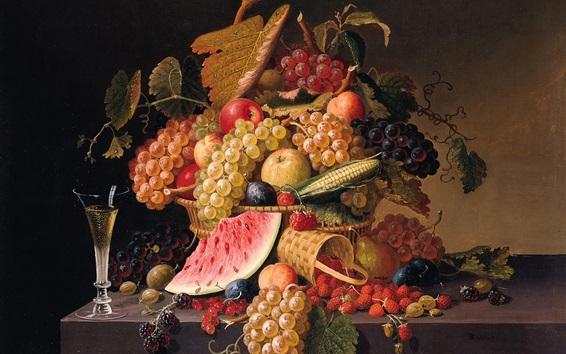 Papéis de Parede Bagas, uvas, maçãs, melancia, pintura de Paul Lacroix