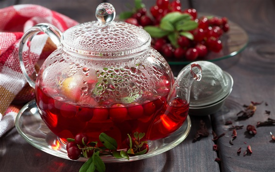 Wallpaper Berries tea, cranberries, teapot, drinks