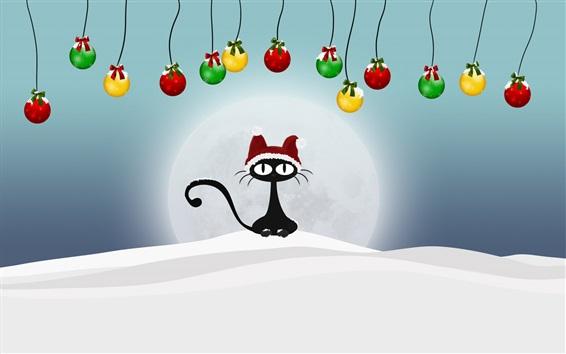 Wallpaper Black cat, Christmas balls, snow, winter, art picture