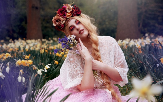 Wallpaper Blonde girl, flowers, makeup, art photography